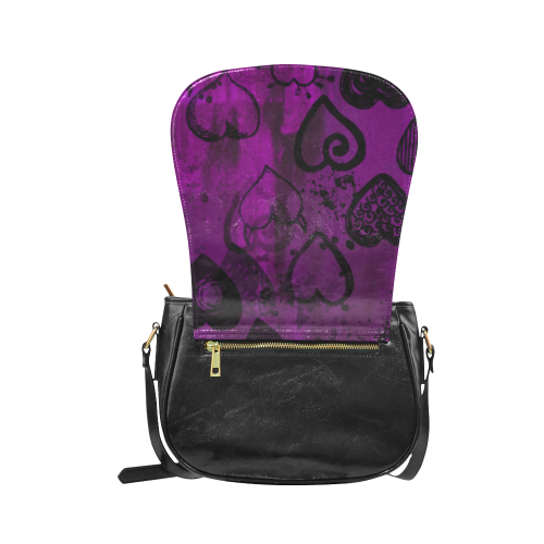 Grunge Purple Hearts Classic Saddle Bag/Large (Model 1648)