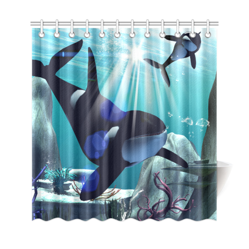 Awesome Orca Shower Curtain 69x72