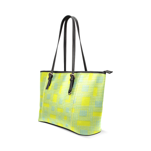PLASTIC YELLOW BLUE Leather Tote Bag/Small (Model 1640)