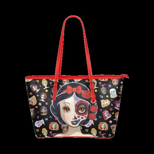 Poisoned Apple Princess: Sugar Skull Series Leather Tote Bag/Large (Model 1651)