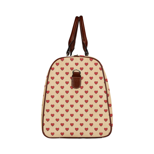RETRO HEARTS Waterproof Travel Bag/Large (Model 1639)
