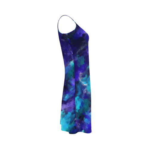Midnight Storm Oil Painting Alcestis Slip Dress (Model D05)