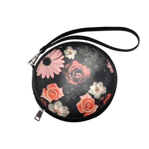 Flowers, floral, pink, black Round Makeup Bag (Model 1625)