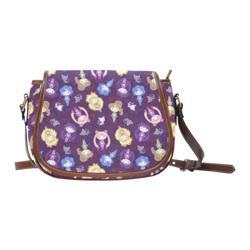 Cutie Moons Pattern (Dark) Saddle Bag/Small (Model 1649) Full Customization