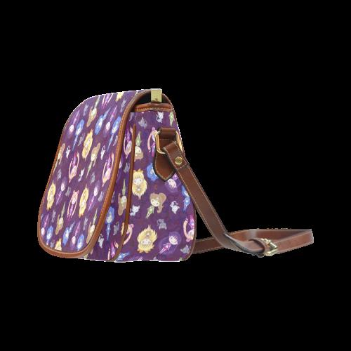Cutie Moons Pattern (Dark) Saddle Bag/Small (Model 1649) Full Customization