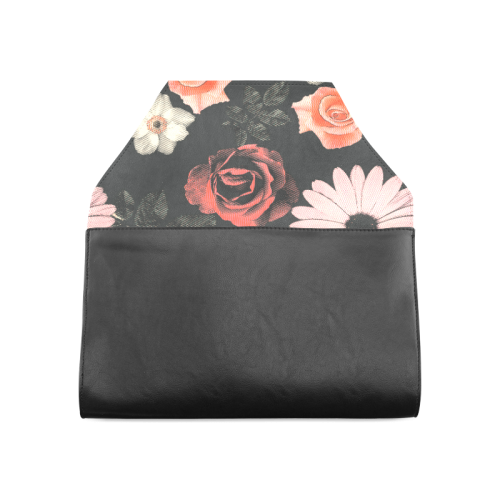 Flowers, floral, pink, black Clutch Bag (Model 1630)