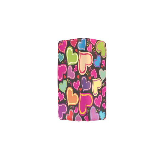 Hearts and Love on Black Women's Clutch Wallet (Model 1637)