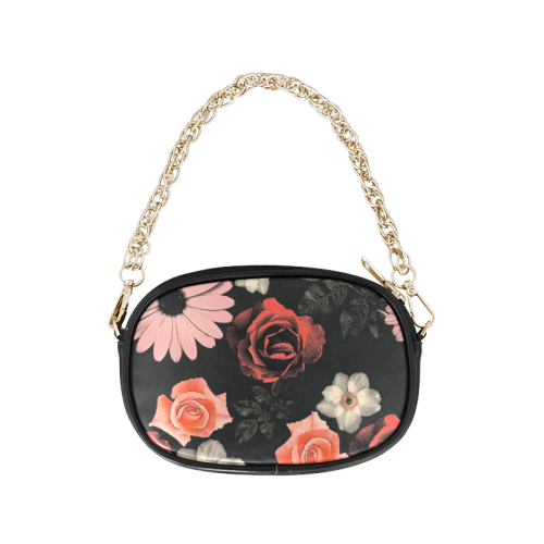 Flowers, floral, pink, black Chain Purse (Model 1626)