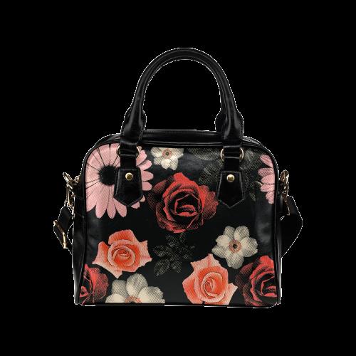 Flowers, floral, pink, black Shoulder Handbag (Model 1634)