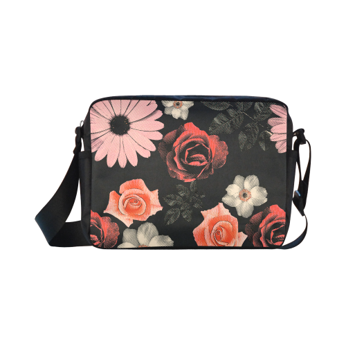 Flowers, floral, pink, black Classic Cross-body Nylon Bags (Model 1632)