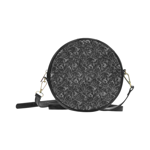 Vintage Floral Charcoal Black Round Sling Bag (Model 1647)