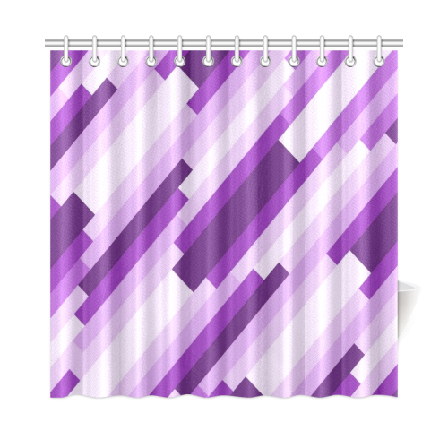 Shades Of Purple Diagonal Stripes Shower Curtain