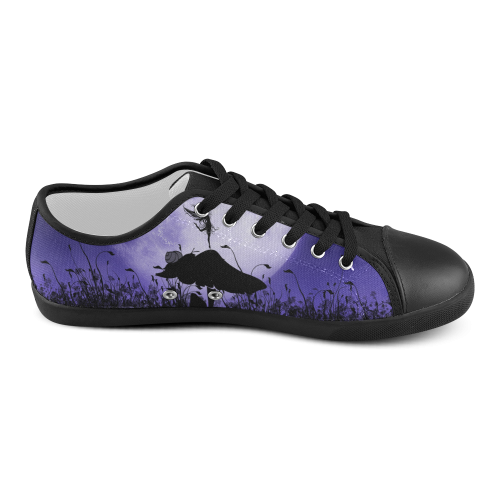 A beautiful fairy dancing on a mushroom silhouette Women's Canvas Shoes (Model 016)