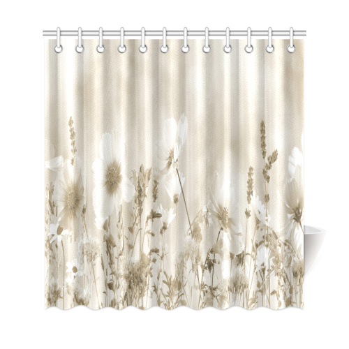 "Beige Shaded Wildflowers Shower Curtain 69""x72"""