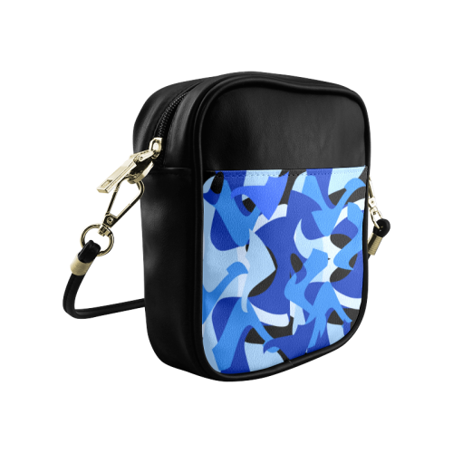 A201 Abstract Shades of Blue and Black Sling Bag (Model 1627)