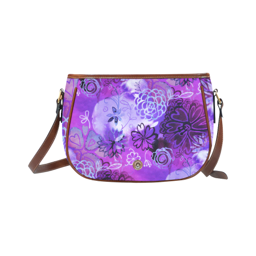 Urban Purple Flowers Saddle Bag/Large (Model 1649)