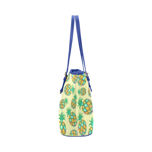 Pineapple Pastel Colors Pattern Leather Tote Bag/Small (Model 1651)