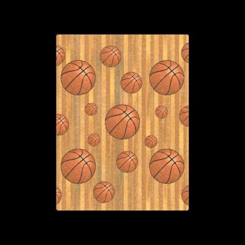 "Basketballs with Wood Background Blanket 50""x60"""