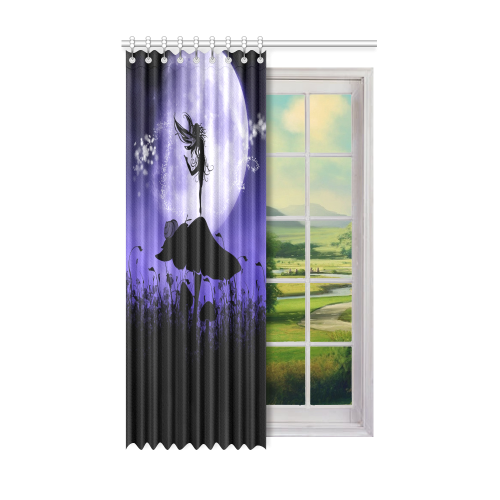"A beautiful fairy dancing on a mushroom silhouette Window Curtain 52"" x 84""(One Piece)"