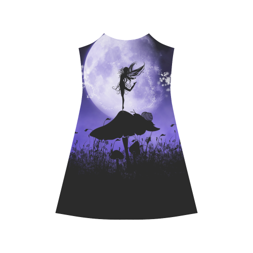 A beautiful fairy dancing on a mushroom silhouette Alcestis Slip Dress (Model D05)
