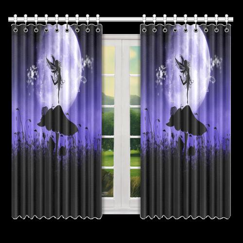 "A beautiful fairy dancing on a mushroom silhouette Window Curtain 52"" x 63""(One Piece)"