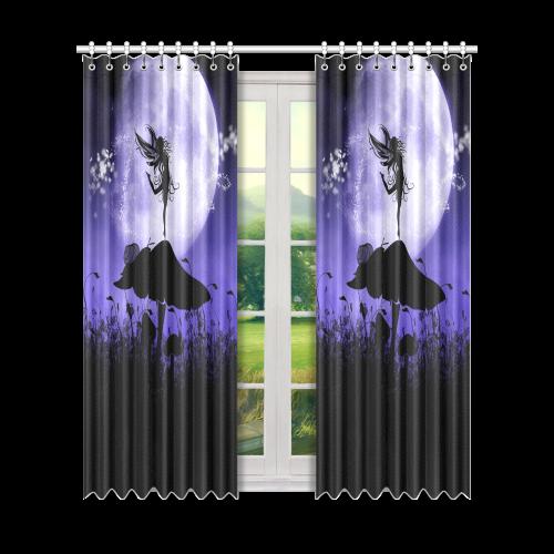 "A beautiful fairy dancing on a mushroom silhouette Window Curtain 50"" x 84""(One Piece)"
