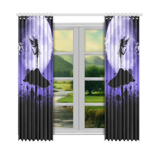"A beautiful fairy dancing on a mushroom silhouette Window Curtain 52""x108""(Two Piece)"