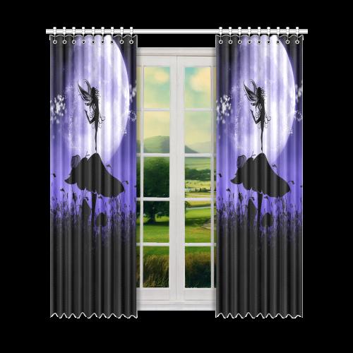 "A beautiful fairy dancing on a mushroom silhouette Window Curtain 52"" x96""(One Piece)"