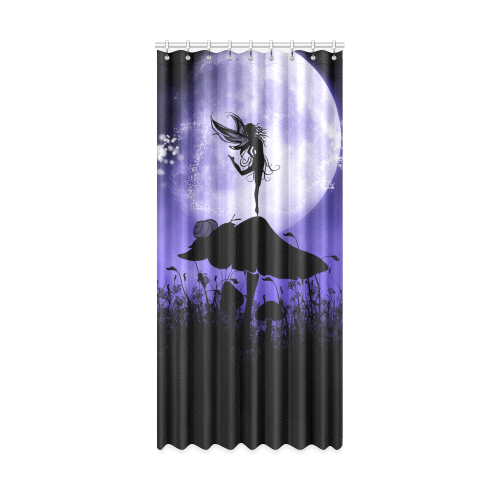 "A beautiful fairy dancing on a mushroom silhouette Window Curtain 50"" x 108""(One Piece)"