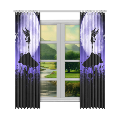 "A beautiful fairy dancing on a mushroom silhouette Window Curtain 50""x108""(Two Piece)"