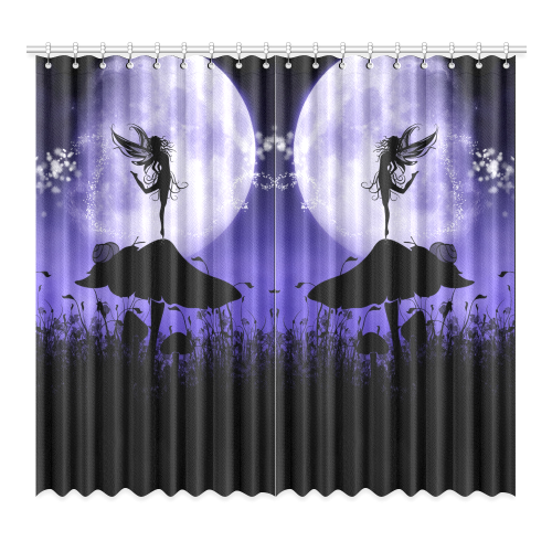 "A beautiful fairy dancing on a mushroom silhouette Window Curtain 52""x96""(Two Piece)"