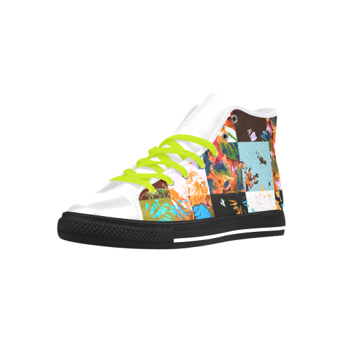 Foliage Patchwork #3 - Jera Nour Aquila High Top Microfiber Leather Men's Shoes (Model 027)