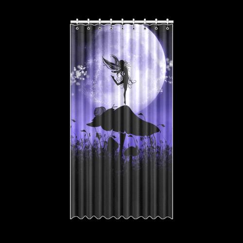 "A beautiful fairy dancing on a mushroom silhouette Window Curtain 50"" x 96""(One Piece)"