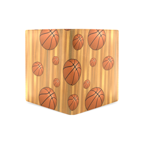 Basketballs with Wood Background Men's Leather Wallet (Model 1612)