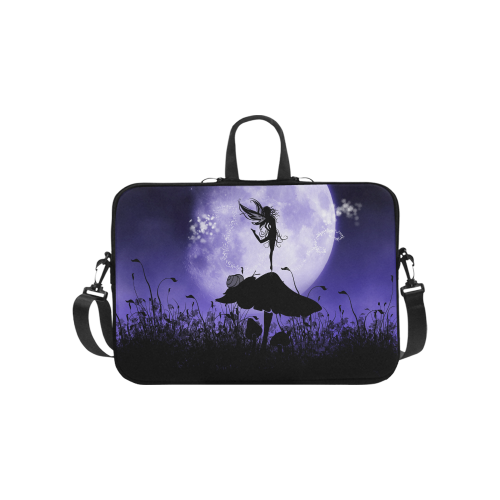"A beautiful fairy dancing on a mushroom silhouette Laptop Handbags 10"""