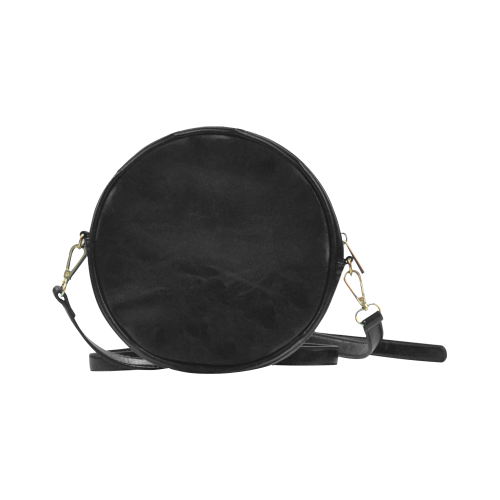 Grey random grain motion blur and a black star VAS2 Round Sling Bag (Model 1647)