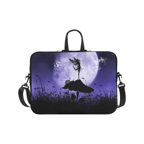 "A beautiful fairy dancing on a mushroom silhouette Laptop Handbags 17"""