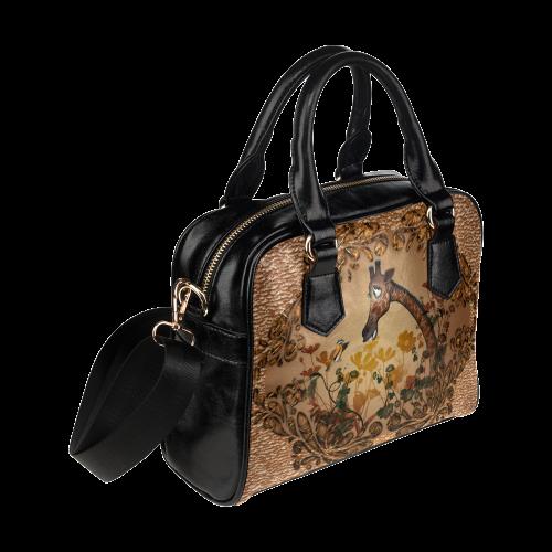 Sweet giraffe with bird Shoulder Handbag (Model 1634)