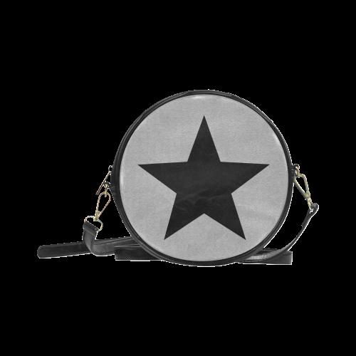 Grey random grain motion blur and a black star VAS2 Round Sling Bag (Model 1647)