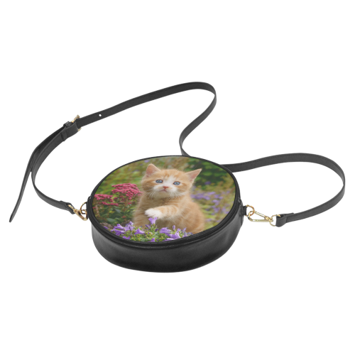 Cute Ginger Kitten Funny Baby Pet Animal in a Garden Photo for Cat Lovers Round Sling Bag (Model 1647)