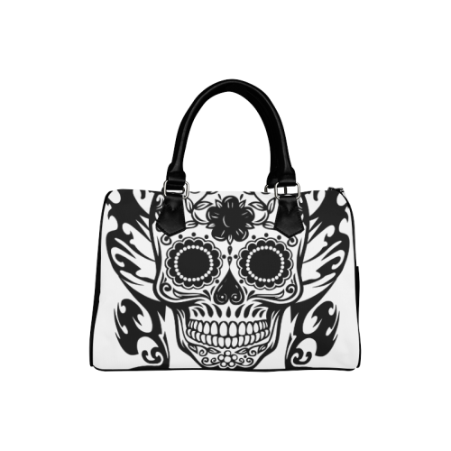 SKULL FLOWERS Boston Handbag (Model 1621)