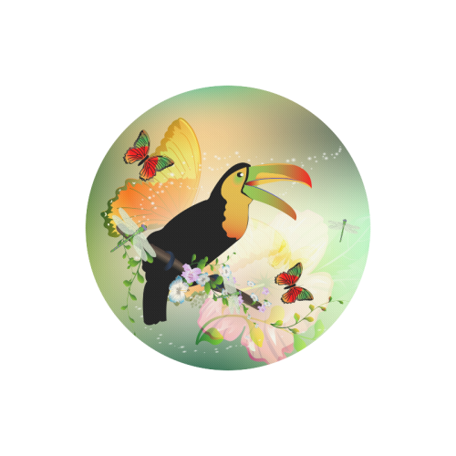 Funny toucan with flowers Round Mousepad