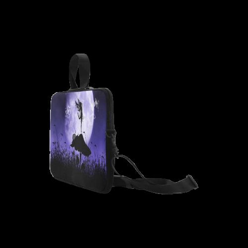 "A beautiful fairy dancing on a mushroom silhouette Laptop Handbags 14"""