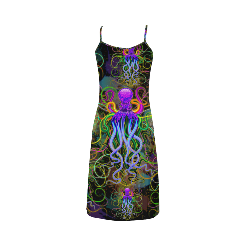 Octopus Psychedelic Luminescence Alcestis Slip Dress (Model D05)