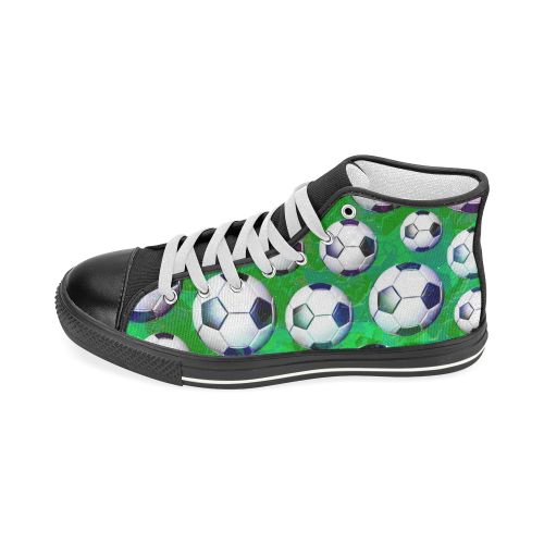 Soccer Ball Football Pattern Men's Classic High Top Canvas Shoes (Model 017)