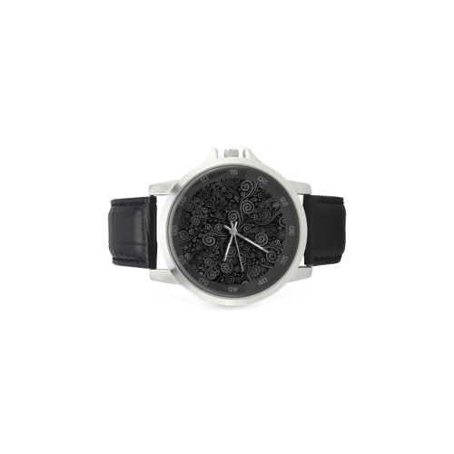 Black and White Rose Unisex Stainless Steel Leather Strap Watch(Model 202)