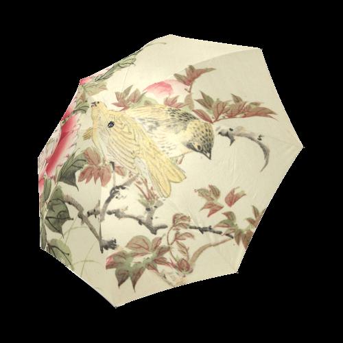 Peony flowers & Birds, japanese woodcut print, Foldable Umbrella (Model U01)