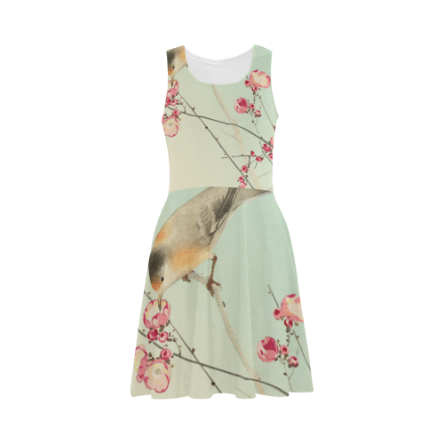 Oriental Bird pink blossom, Japanese woodcut print Atalanta Sundress (Model D04)