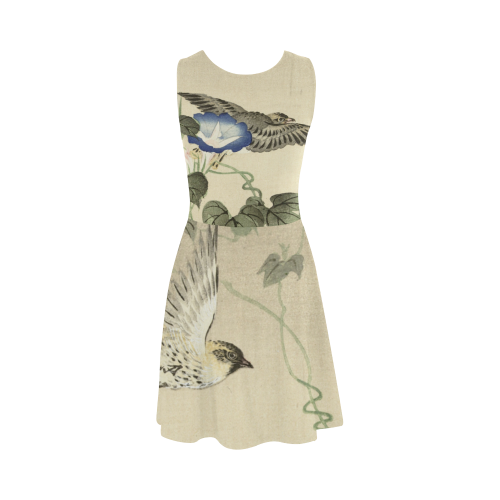 Oriental Birds and blue flowers, Japanese woodcut, Atalanta Sundress (Model D04)