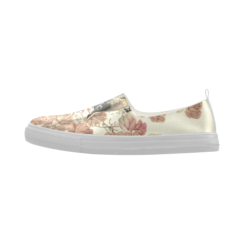 Flying birds, japanese woodcut print, Apus Slip-on Microfiber Women's Shoes (Model 021)